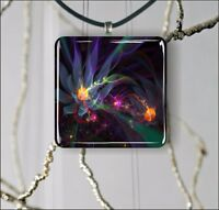 FLOWERS COLORFUL FRACTAL WORLD DESIGN PENDANT NECKLACE 3 SIZES CHOICE -hgj7Z