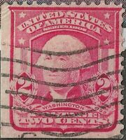 RARE 1903 LB CORNER 319 Red Type 1 Washington 2C US Postage Stamp Cancel NHNG VF