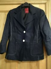 "LADIES BLACK LINEN JACKET SIZE 36"" BUST, WITH WHITE EDGING."