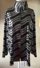 Exclusively Misook Woman Black Silver Wavy Sequin Zip Jacket Plus 3X Metallic