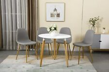WestWood Dining Table and 4 Chairs Set 80CM Round Wood Table Linen Fabric Chairs
