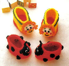 FUN Clown & Ladybug Baby Booties/Crochet Pattern INSTRUCTIONS ONLY