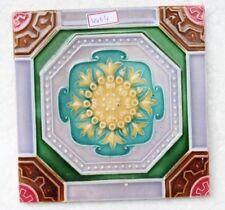 VINTAGE TILE ART NOUVEAU MAJOLICA YELLOW FLOWER DESIGN ARCHITECTURE TILE NH4404