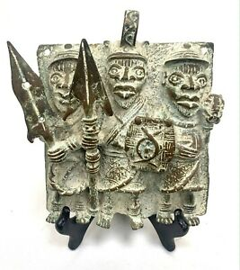 Plaque royale de Palais Bini Edo Benin bronze 17x14 cm