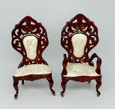 Vintage Pair of Upholstered Victorian Parlor Chairs Dollhouse Miniature 1:12