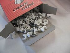 """500 each 4mm (0.157"""") Cable Clips White Round Nail Clamps Wire 5 Boxes"""