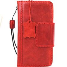 Genuine vintage leather case for LG G6 book wallet magnet cover cards slots red