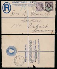 GB QV REGISTERED STATIONERY CHARING CROSS OVAL + 1d + 1 1/2d JUBILEE to GERMANY