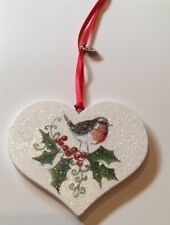 Robin Holly Christmas Hanging Decoration Country Shabby Chic Rustic