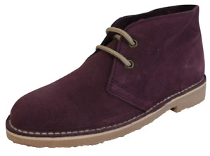 Ladies Purple Retro 70s MOD Style Real Suede Desert Boots