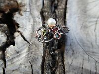 Handcrafted Pearl Floral Multi Gemstone Sterling Silver Branch Ring Size 7.75