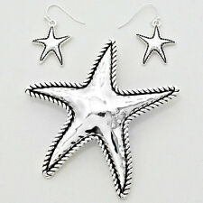 Starfish Pendant Earrings Rope Sides SILVER BLACK Simple Plain SeaLife Jewelry
