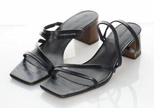 45-60 $295 Women's Sz 9 M Vince Elita Croc Embossed Leather Strappy Heel Sandal