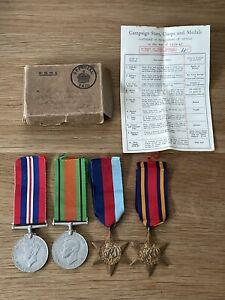 Old Original WW2 Medal War Defence 1939-45 Star Burma Star Box