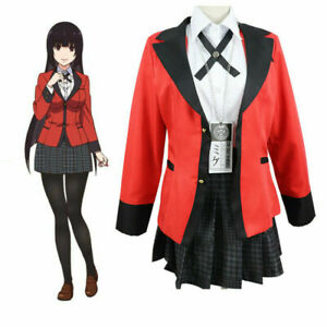 Girls KAKEGURUI Jabami Yumeko Uniform Outfit Cosplay Costume Dress Full Set Coat