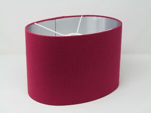 **  SALE  ** Lampshade Raspberry Pink Textured 100% Linen Brushed Silver Oval