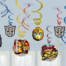 TRANSFORMERS BIRTHDAY PARTY SUPPLIES FOIL SWIRL HANGING DECORATIONS 12 PIECES