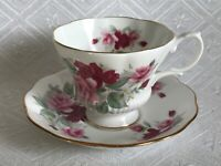 Royal Albert Corset Teacup and Saucer Set Red & Pink Roses Made in England