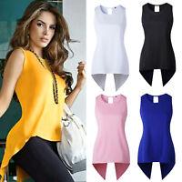 Women Blouse Long Tank Top Vest Sleeveless Fishtail Irregular Tops Loose T Shirt