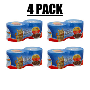 Lot of (4) 9Lives Tender Morsels With Real Flaked Tuna & Egg Bits In Sauce 4case
