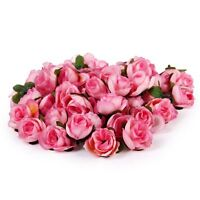 50X Fake Artificial Silk Rose Heads Flower Buds Bouquet Home Wedding Craft UKYQ