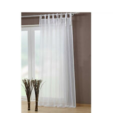 Modern Elegent Tie Top Curtain Crushed Voile Sheer White&Black  Panel/Pair