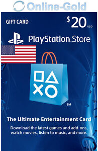PSN Gift Card $20 USD - 20 Dollar Playstation Network US Key PS3/4 Guthaben Code