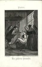 Stampa antica PLATEN Der glaserne Pantoffel 1860 Old antique print Alte stich