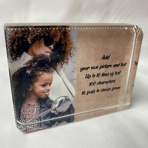 Full Personalised with Your Picture and Text Printed Large Crystal Block
