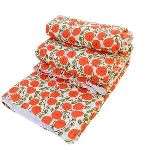 Ethnic Bedspread Winter Warm Razai Pure Cotton Quilt Blanket Coverlet Queen Size