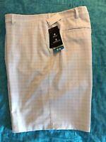 Men's White Light check Golf Shorts By PGA  Tour    Size 32