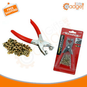 Eyelet Plier Punch Tool DIY Hole Maker Leather Craft Kit With 100 Brass Eyelets