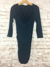 CAbi Black Shimmy Tunic Bodycon Dress Ruched Sides Size Small Style #176