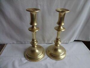 Antique Pair Georgian Brass Candlesticks Height 22.5 cm x 11 cm