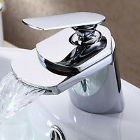 MODERN SQUARE WATERFALL BASIN SINK MIXER MONO FAUCET BATHROOM TAP BRASS CHROME