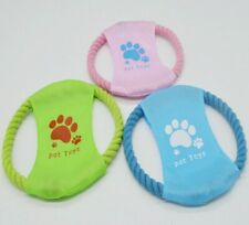 Blue Cotton Rope Pet Toy Frisbee dog bite Interactive Training Dog Throwing Toys