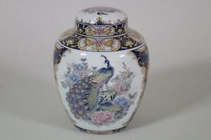 Japanische Deckelvase Vase Teedose Porzellan Pfau Blumen Dekor Japan (RK668)