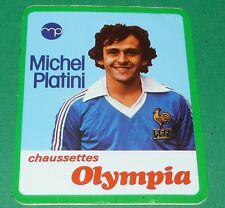 FOOTBALL MICHEL PLATINI EQUIPE FRANCE BLEUS 1979 / PUB CHAUSSETTES OLYMPIA
