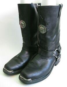 """HARLEY DAVIDSON"" Men's (Size 9.5) Leather Buckle/Zip Motorcycle Boots EUC !!!!"