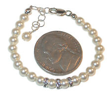 4mm CREAM Pearl Bracelet NEWBORN BABY Sterling Silver Swarovski Elements