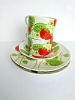 VTG Lot of 5 FITZ AND FLOYD Wild Strawberry Design Plate Cup Saucer Variations