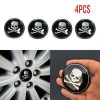 4x 56mm Bone Skull Logo Car Vehicle Wheel Emblem Hub Center Cap Cross Sticker C
