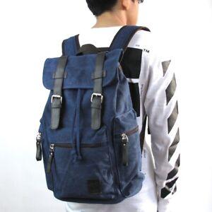 Blue RETRO CANVAS BACKPACK RUCKSACK University School Travel Bag 260