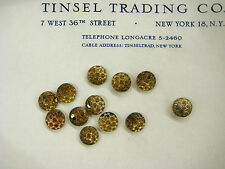 1 Doz Vintage Antique Amber/Silver Glass  Buttons Unused  Doll Costume