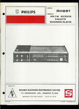 Rare Orig Factory Philips RH 881 AM FM Cassette Tuner Receiver Service Manual