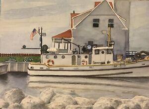 Muskegon NOAA Boat Original Watercolor Painting