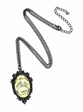 "Ouija Board Cameo Bubble Pendant Necklace Yes No Goodbye 18"" Black Chain NEW"
