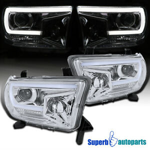 For 2007-2013 Toyota Tundra Sequoia Projector Headlights LED Strip Lamps 07-13