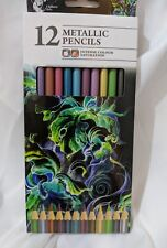 12x Metallic Pencils Intense Colour Stunning Effects Artwork Chiltern Arts Draw