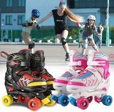 New listing US Adjustable Size Roller Skates for Kids 4 Wheels Children Boy Girls Beginner Q